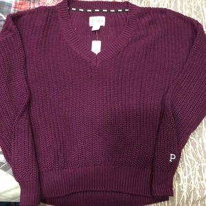 Victoria Secret Pink, maroon chunky sweater, Sz L